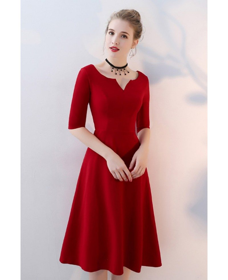 popular stores price reduced offer discounts Simple Burgundy Knee Length Party Dress Aline #BLS86057 ...
