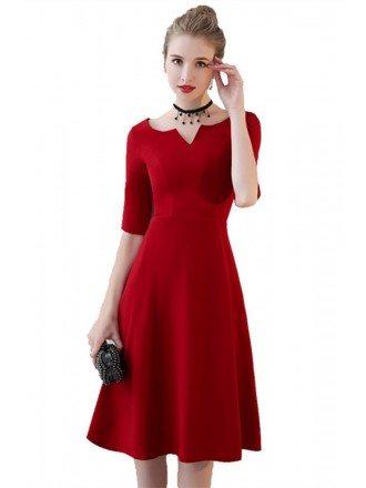 Simple Burgundy Knee Length Party Dress Aline