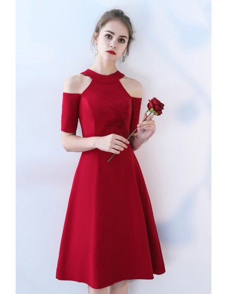 Tea Length Burgundy Party Dress with Cold Shoulder Sleeves