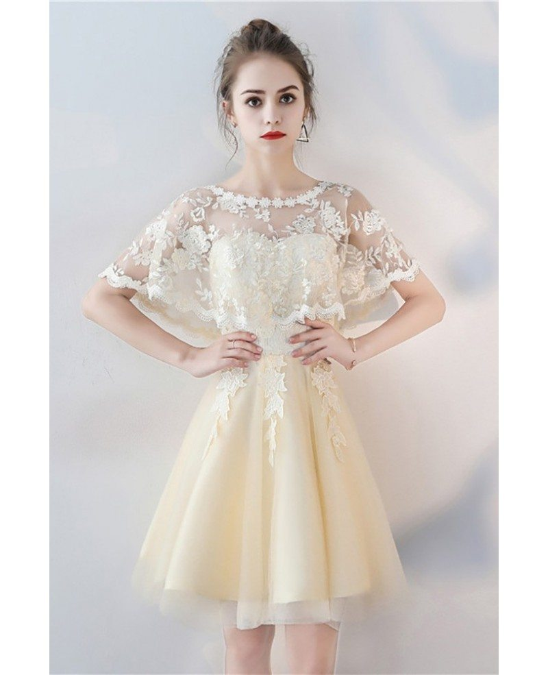 Champagne Aline Tulle Short Party Dress With Lace Cape Sleeves Bls86063 Gemgracecom