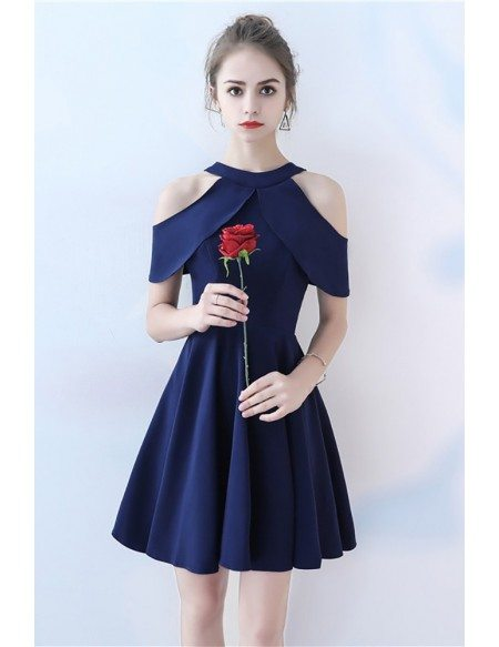 Simple Navy Blue Short Homecoming Dress Aline
