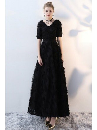 Unique Black Feathers Long Party Dress with Short Sleeves
