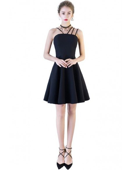 Fashion Little Black Homecoming Dress with Multi Straps