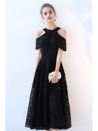 Tea Length Black Aline Lace Party Dress Cold Shoulder