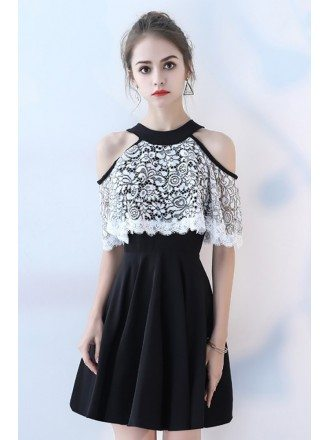 Black with White Lace Short Homecoming Dress Cold Shoulder