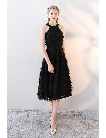 Tea Length Black Halter Party Dress with Feathers