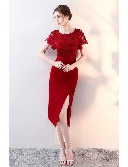 Burgundy Lace Short Sleeves Wedding Party Dress with Slit