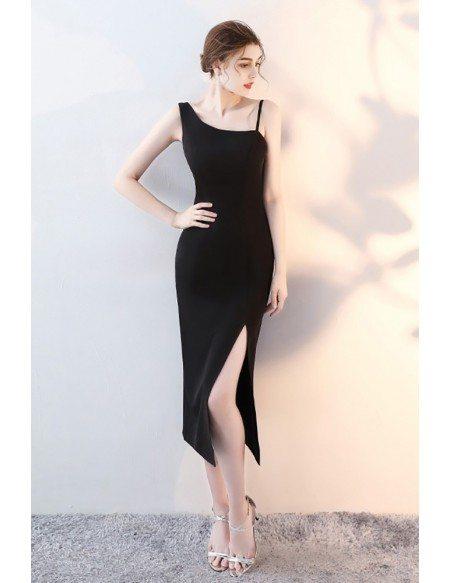 Slim Black Side Slit Party Dress with Straps