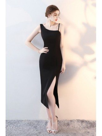 Slim Black Side Slit Party Dress with Straps
