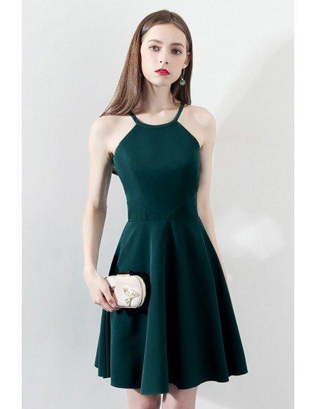 Slim Dark Green Aline Short Party Dress Halter