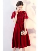 Tea Length Lace Sleeve Wedding Party Dress with Sash
