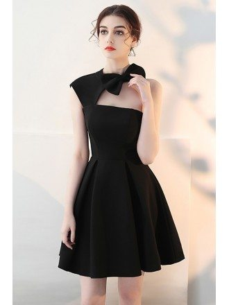 Fit and Flare Little Black Homecoming Dress with Cute Bow