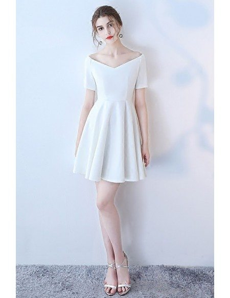 White Off Shoulder Simple Short Homecoming Dress with Sleeves
