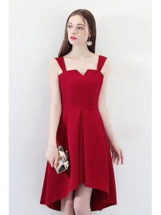 Burgundy High Low Homecoming Party Dress with Straps