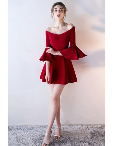 Gorgeous Short Off Shoulder Homecoming Dress with Bell Sleeves