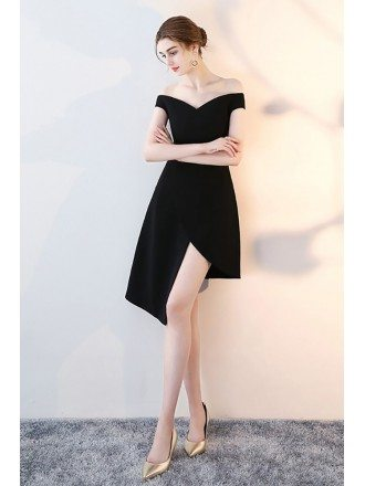 Black Off Shoulder High Low Homecoming Dress