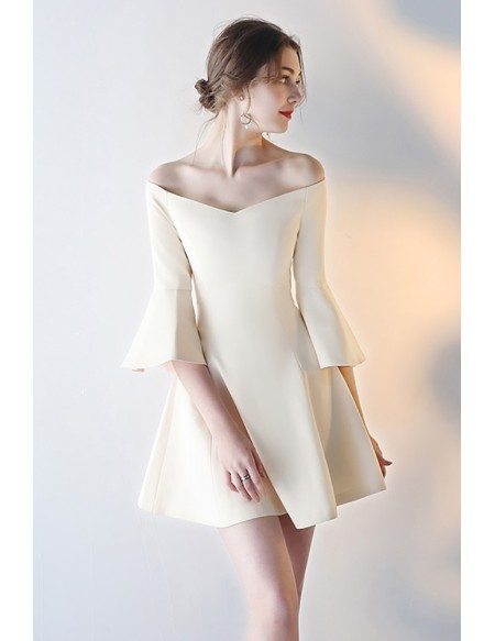 Gorgeous Off Shoulder Short Champagne Party Dress with Sleeves