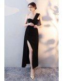 Chic Black One Strap Maxi Party Dress with Side Slit
