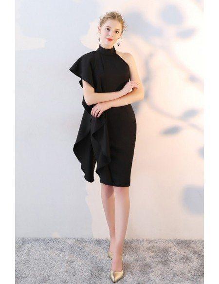 Gorgeous Black Sheath Party Dress Short Halter with Ruffles