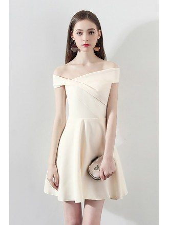 Gorgeous Short Champagne Homecoming Dress Off Shoulder