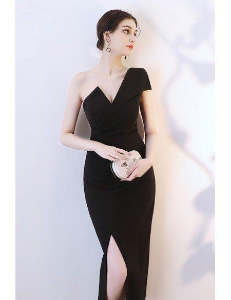 Sexy Black Side Slit Mermaid Party Dress One Shoulder