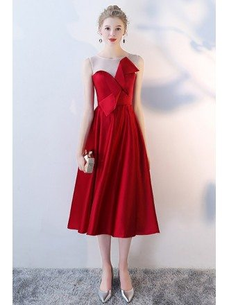 Tea Length Burgundy Aline Party Dress with Bow Knot