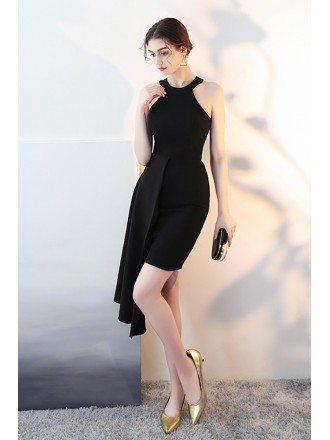 Black Short Halter Cocktail Dress with Ruffles
