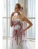 Mermaid Strapless Cathedral Train Tulle Wedding Dress With Beading Flowers