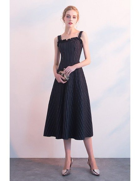 Striped Navy Blue Tea Length Casual Party Dress with Straps