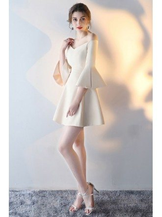 Champagne Flare Mini Homecoming Dress with Off Shoulder Sleeves