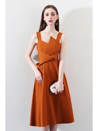 Chic Brown Knee Length Party Dress with Straps