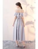 Elegant Grey Tea Length Homecoming Party Dress with Flounce