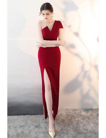 Sexy One Shoulder Burgundy Fitted Formal Dress with Slit