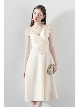 2018 Champagne Bow Knot Homecoming Party Dress with Straps