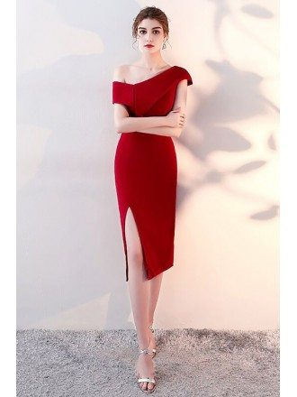 Sheath Side Slit Burgundy Red Party Dress with One Shoulder