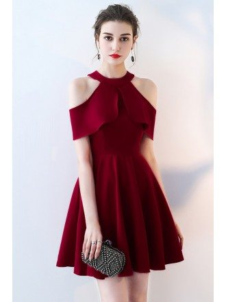 Short Red Burgundy Halter Homecoming Dress with Flounce