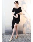 Black Asymmetrical Formal Short Party Dress with Sleeves