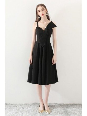 2018 Black Aline Simple Homecoming Dress Tea Length
