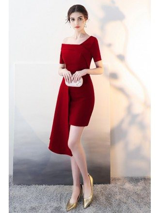 Burgundy Fitted Cocktail Party Dress with Asymmetrical Design