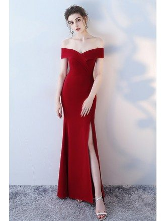 Burgundy Side Slit Mermaid Formal Dress Off Shoulder