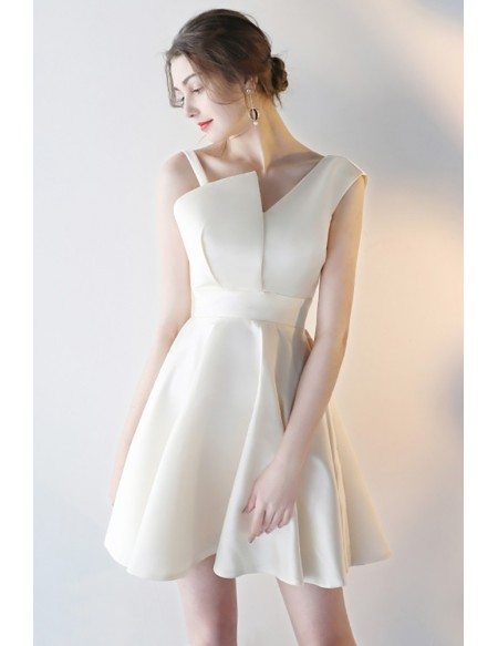 Champagne Short Formal Party Dress with Asymmetrical Straps