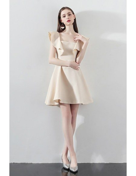 Champagne Aline Short Party Dress Homecoming with Flounce