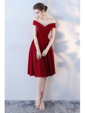 Burgundy Red Off Shoulder Homecoming Party Dress