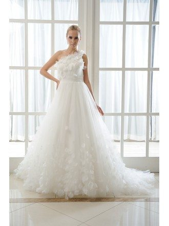 Ball-Gown One Shoulder chapel Train Organza Wedding Dress With Flowers