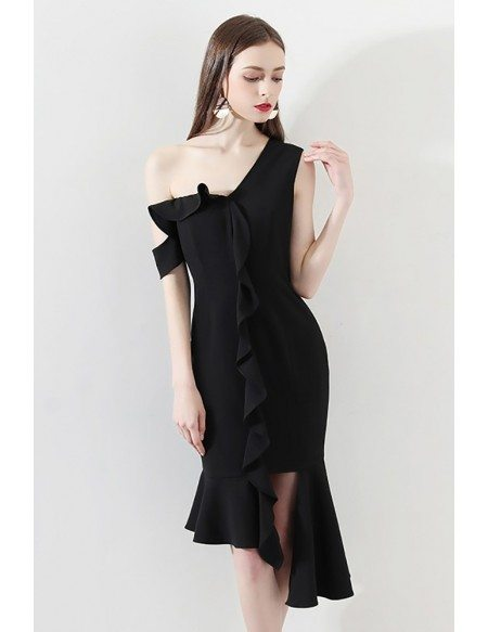 Sexy One Shoulder Black Mermaid Formal Party Dress with Ruffles