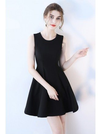 Little Black Fit and Flare Homecoming Dress Sleeveless