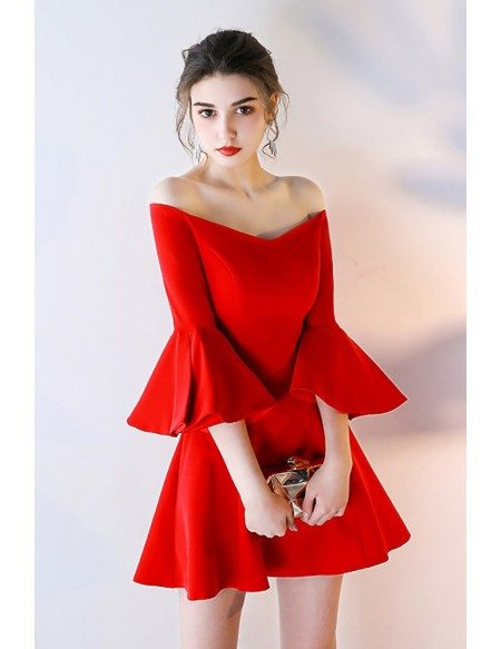 Gorgeous Off Shoulder Red Homecoming Dress with Sleeves