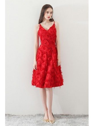 Unique Feathers Red Knee Length Party Dress Vneck with Straps