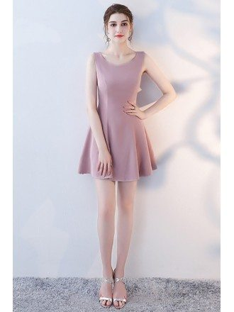 Fit and Flare Mauve Short Homecoming Dress Round Neck