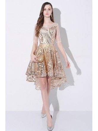 Sparkly Gold Sequin High Low Short Party Dress with Sleeves
